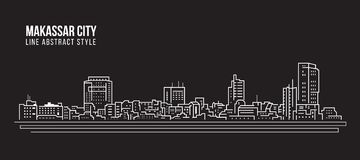 Cityscape Building Line art Vector Illustration design - Makassar city Stock Photography