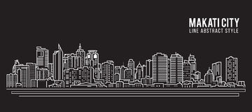 Cityscape Building Line art Vector Illustration design - Makati city Royalty Free Stock Photo