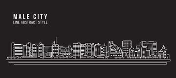 Cityscape Building Line art Vector Illustration design - Male city - Maldives stock illustration