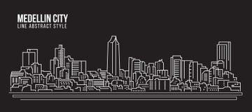 Cityscape Building Line art Vector Illustration design - Medellin city Stock Photo