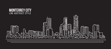 Cityscape Building Line art Vector Illustration design - Monterrey city royalty free illustration