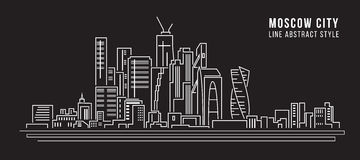 Cityscape Building Line art Vector Illustration design - moscow city Royalty Free Stock Photography