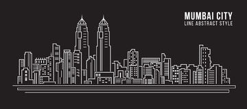 Cityscape Building Line art Vector Illustration design - mumbai city Stock Photography