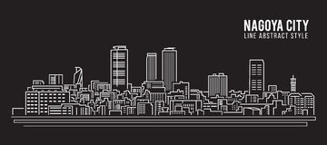 Cityscape Building Line art Vector Illustration design - Nagoya city Stock Photography