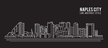 Cityscape Building Line art Vector Illustration design -  Naples city Stock Photo