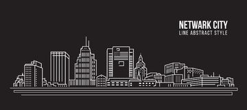 Cityscape Building Line art Vector Illustration design - Netwark city Royalty Free Stock Images