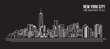 Cityscape Building Line art Vector Illustration design - new york city Royalty Free Stock Photography