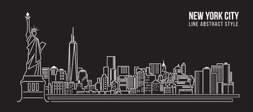 Cityscape Building Line art Vector Illustration design - new york city Royalty Free Stock Image
