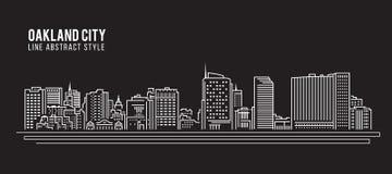 Cityscape Building Line art Vector Illustration design - Oakland city ,California Stock Photography