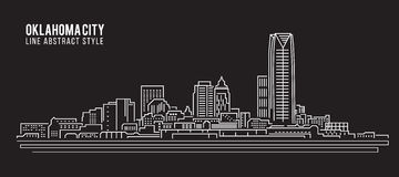 Cityscape Building Line art Vector Illustration design - Oklahoma city Royalty Free Stock Photos
