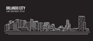 Cityscape Building Line art Vector Illustration design -  Orlando city Stock Photography