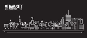 Cityscape Building Line art Vector Illustration design - Ottawa city Stock Photo