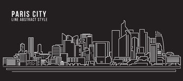 Cityscape Building Line art Vector Illustration design - Paris city Stock Photography