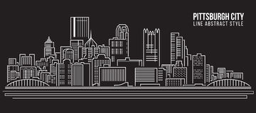 Cityscape Building Line art Vector Illustration design - Pittsburgh City Stock Image