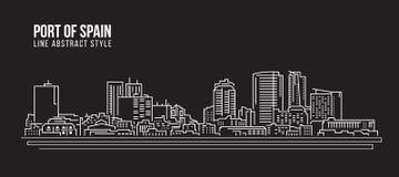 Cityscape Building Line art Vector Illustration design - Port of spain city Stock Photos