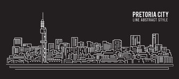 Cityscape Building Line art Vector Illustration design - Pretoria city Royalty Free Stock Photography