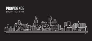 Cityscape Building Line art Vector Illustration design - Providence city Royalty Free Stock Image