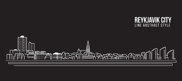 Cityscape Building Line art Vector Illustration design - Reykjavik city Royalty Free Stock Image