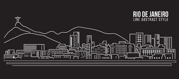 Cityscape Building Line art Vector Illustration design - rio de janeiro city Stock Images