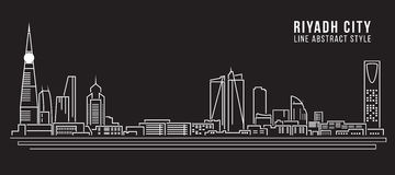 Cityscape Building Line art Vector Illustration design - Riyadh city Royalty Free Stock Photos