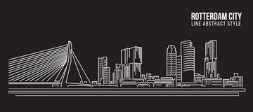 Cityscape Building Line art Vector Illustration design - Rotterdam City Stock Photo