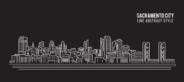 Cityscape Building Line art Vector Illustration design - Sacramento city Royalty Free Stock Photography