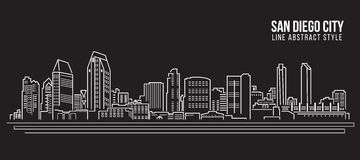 Cityscape Building Line art Vector Illustration design - San Diego city royalty free illustration