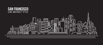 Cityscape Building Line art Vector Illustration design - san francisco city Stock Photography
