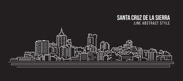 Cityscape Building Line art Vector Illustration design - Santa cruz de la sierra city Royalty Free Stock Photography
