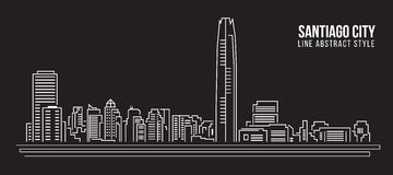 Cityscape Building Line art Vector Illustration design - Santiago city Royalty Free Stock Photography