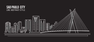 Cityscape Building Line art Vector Illustration design -  Sao paulo city Royalty Free Stock Images