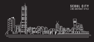 Cityscape Building Line art Vector Illustration design - seoul city Stock Images