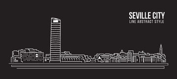 Cityscape Building Line art Vector Illustration design - Seville city Royalty Free Stock Image