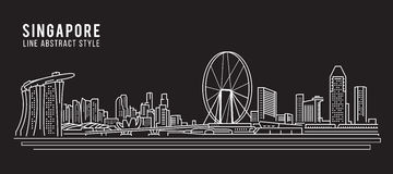 Cityscape Building Line art Vector Illustration design - Singapore city Royalty Free Stock Image