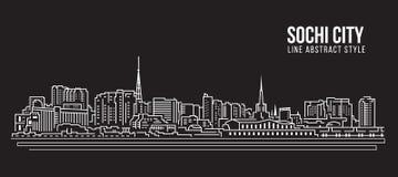 Cityscape Building Line art Vector Illustration design - Sochi city Stock Photography
