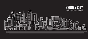 Cityscape Building Line art Vector Illustration design - Sydney city Stock Photos