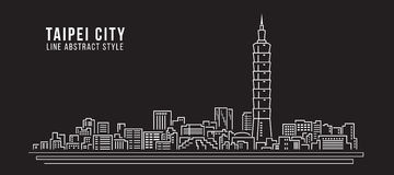 Cityscape Building Line art Vector Illustration design - Taipei city Stock Images