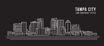 Cityscape Building Line art Vector Illustration design -  Tampa city Stock Image