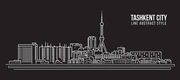 Cityscape Building Line art Vector Illustration design - Tashkent city Royalty Free Stock Photography