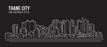 Cityscape Building Line art Vector Illustration design - Thane city royalty free illustration
