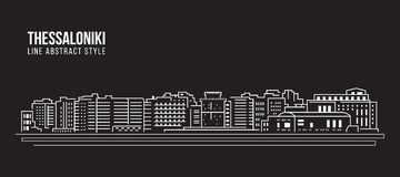 Cityscape Building Line art Vector Illustration design - thessaloniki city Stock Photo