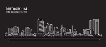 Free Cityscape Building Line Art Vector Illustration Design - Toledo City USA Royalty Free Stock Photo - 108451775