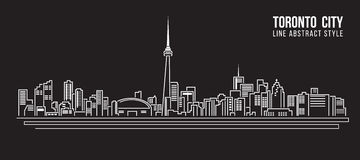 Cityscape Building Line art Vector Illustration design - Toronto city Royalty Free Stock Photos