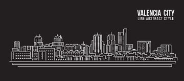 Cityscape Building Line art Vector Illustration design - Valencia city Stock Photography