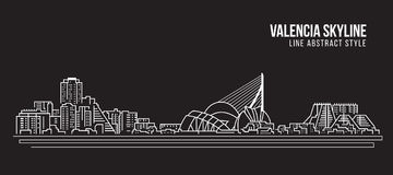 Cityscape Building Line art Vector Illustration design - Valencia skyline Royalty Free Stock Photo