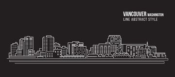 Cityscape Building Line art Vector Illustration design - Vancouver city Washington Royalty Free Stock Images