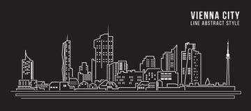 Cityscape Building Line art Vector Illustration design - Vienna city Royalty Free Stock Photography