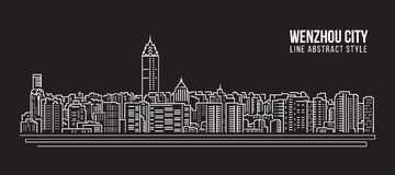 Cityscape Building Line art Vector Illustration design - Wenzhou city Royalty Free Stock Photography