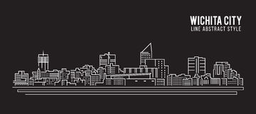 Cityscape Building Line art Vector Illustration design - Wichita city Royalty Free Stock Photo