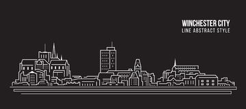 Cityscape Building Line art Vector Illustration design -  Winchester city stock image